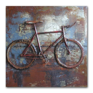 Benjamin Parker 'Fixed Gears' Blue/Grey/Brown Metal 32-inch Raised Wall Art