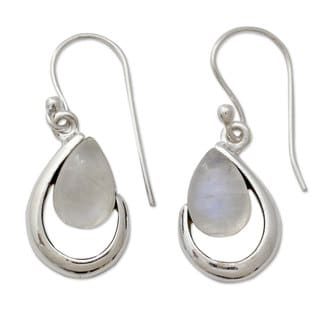 Handcrafted Sterling Silver 'Sublime Symmetry' Rainbow Moonstone Earrings (India)