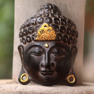 Handcrafted Albesia Wood 'Golden Buddha Serenity' Wall Sculpture (Indonesia)
