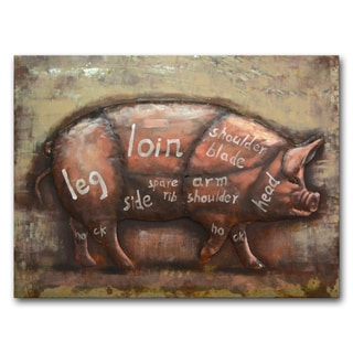 Benjamin Parker 'Pig Diagram' Multicolored Metal 30-inch x 39-inch Raised Wall Art