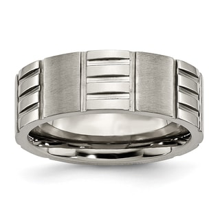 Titanium Notched 8mm Satin and Polished Band