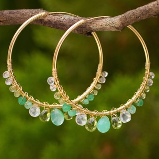 Handcrafted Gold Overlay 'Spring Serenade' Multi-gemstone Earrings (Thailand)