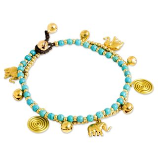 Handcrafted Brass 'Elephant Bells' Calcite Anklet (Thailand)