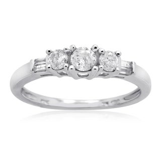 10k White Gold 1/2CT TDW Diamond Round 3-Stone and Baguette Anniversary Ring