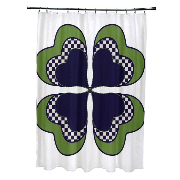 Four Leaf Clover Holiday Floral Print Shower Curtain