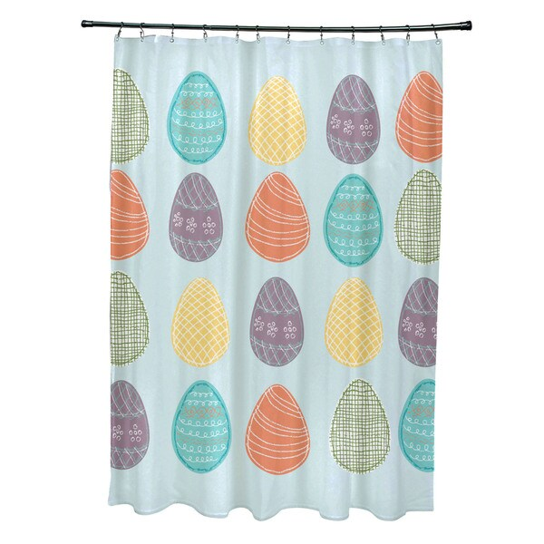 Eggs-ellent. Holiday Geometric Print Shower Curtain