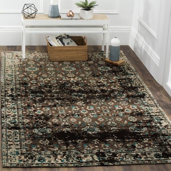 Safavieh Classic Vintage Teal/ Beige Cotton Distressed Rug - 4' x 6'