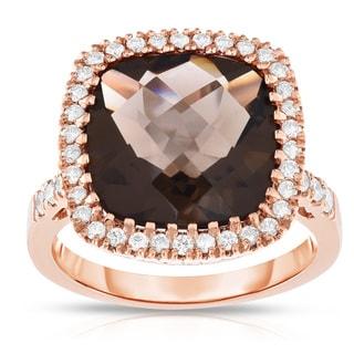 Noray Designs 14k Pink Gold Smoky Topaz and .42ct TDW Diamond Cocktail Ring (G-H, SI1-SI2)