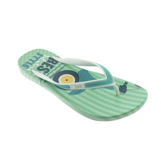 Ish Women's Best Travel Teal and White Flip-flops