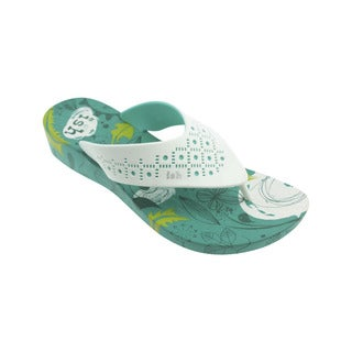 Ish Women's Greenery White and Teal Wedge Summer Shoes