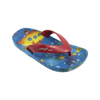Ish Kids' Little Ocean Blue and Red PVC Flip-flop Sandals