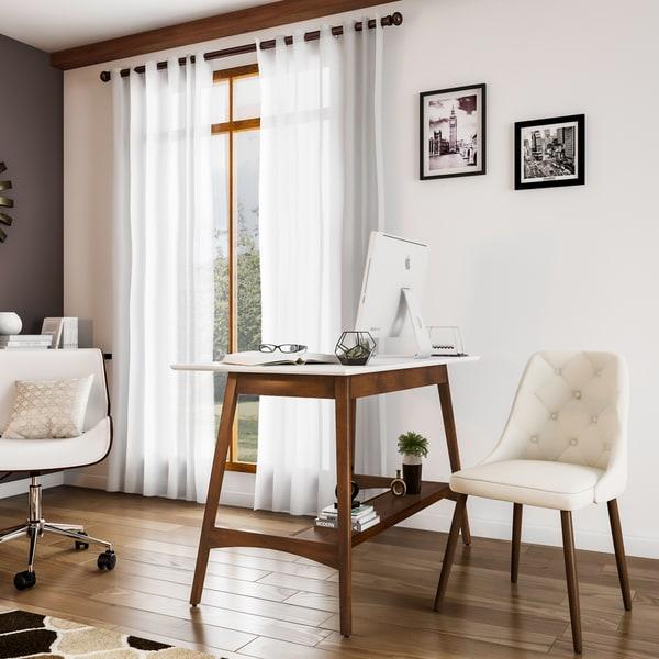 Carson Carrington Avalon Pecan Wood White Top Desk