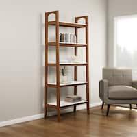 Carson Carrington Mid-century Pecan Brown Avalon Ladder Bookshelf