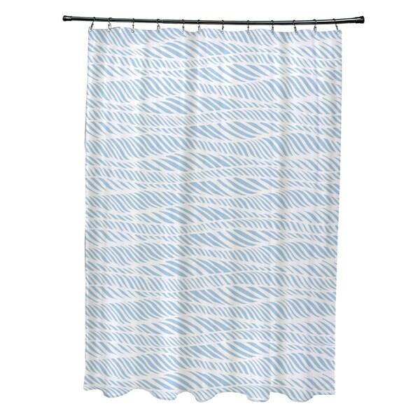 Rolling Waves Geometric Print Shower Curtain