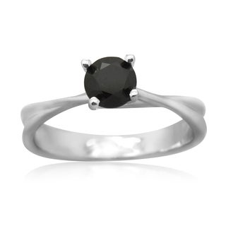 10K White Gold 1.0CT TDW Black Diamond Round Solitaire Ring