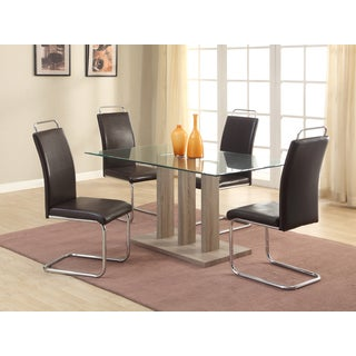 Christopher Knight Home Selena Brown Wood, Chrome, and Glass 5-piece Dining Set