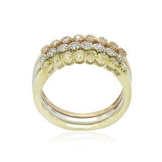 10K White, Yellow and Rose Gold 1/4CT TDW Round Diamond Stackable Ring