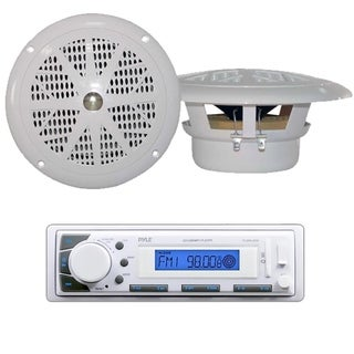 Pyle KTMRGS49 White Marine Stereo AM/FM Receiver and USB/SD iPod/MP3 Player With 2 120W 6.5-inch Speakers