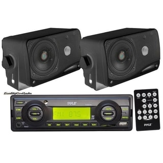 Pyle Black Aux-in for iPod/MP3 + 2 x 3.5-inch 200W Speakers and Remote In-dash Marine AM/FM USB/SD Stereo Player Receiver