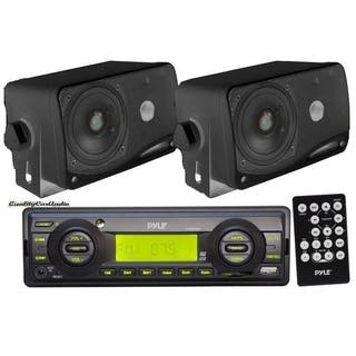 Pyle Black Aux-in for iPod/MP3 + 2 x 3.5-inch 200W Speakers and Remote In-dash Marine AM/FM USB/SD Stereo Player Receiver|https://ak1.ostkcdn.com/images/products/12914769/P19669805.jpg?impolicy=medium