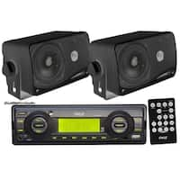 Pyle Black Aux in for iPod MP3  2 inch 200W Speakers and Remote In dash Marine AM FM USB SD Stereo Player Receiver