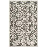 Safavieh Handmade Bella Dark Grey / Ivory Wool Rug - 2'6 x 4'
