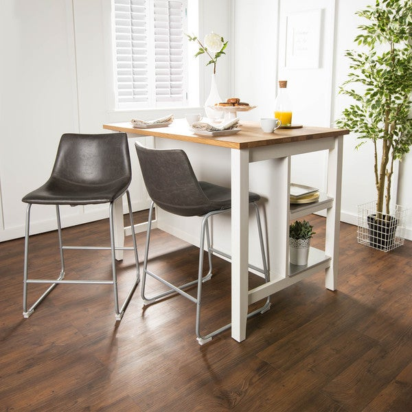 Shop 26 Inch Seat Height Grey Faux Leather Counter Stools