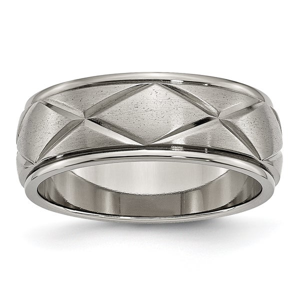 Titanium Grooved Ridged Edge 8mm Brushed Wedding Ring Band Size 8.50 Fashion Jewelry & Watches