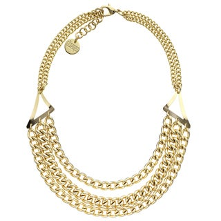 Isla Simone - 18 Karat Gold Electro Plated Triple Strand Twisted Link Necklace