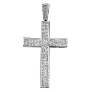 Noori 10k Gold Men's 1 2/5ct TDW Diamond Cross Charm Pendant (I-J, I2-I3)
