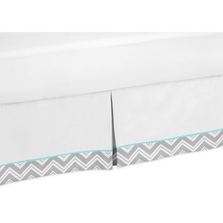 Sweet Jojo Designs Grey and Turquoise Blue Zigzag Queen-size Bedskirt