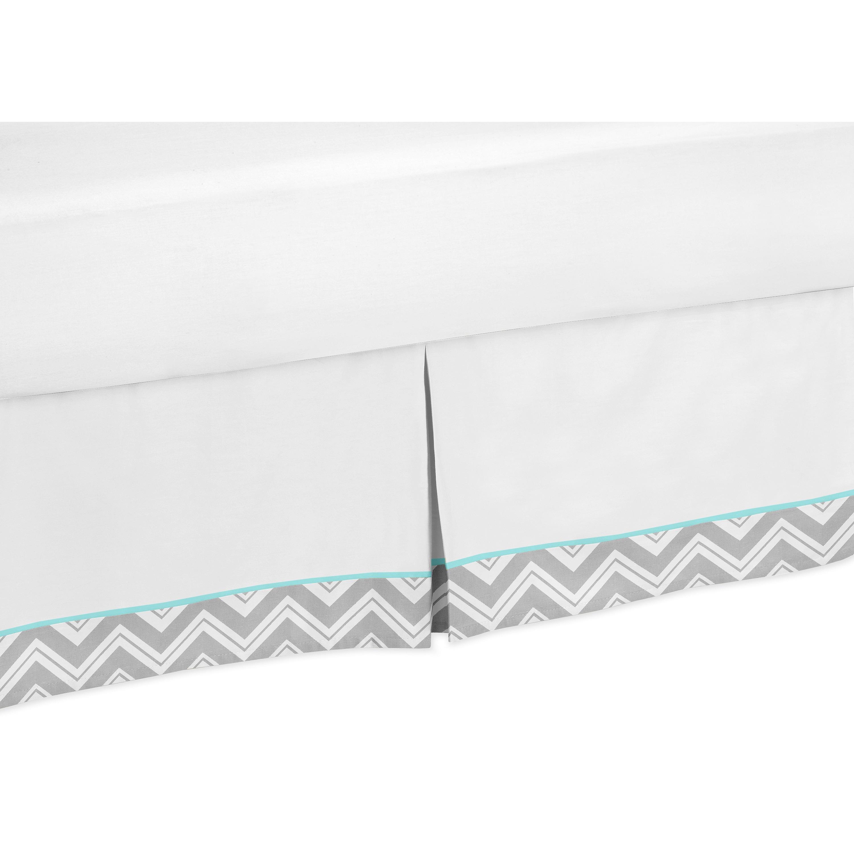Shop Sweet Jojo Designs Grey And Turquoise Blue Zigzag Queen Size Bedskirt Overstock 12914825