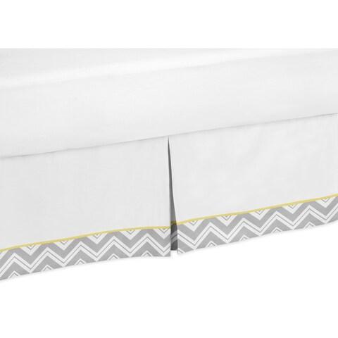 Sweet Jojo Designs Grey and Yellow Zigzag Queen-size Bedskirt