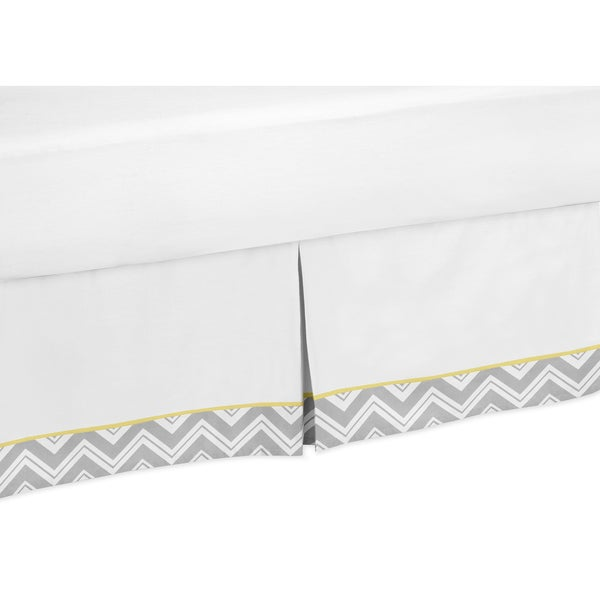 Sweet Jojo Designs Grey and Yellow Zigzag Queen-size Bedskirt