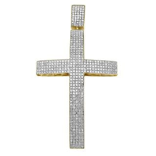 Noori 10k Gold Men's 2 1/3ct TDW Diamond Cross Charm Pendant (I-J, I2-I3)
