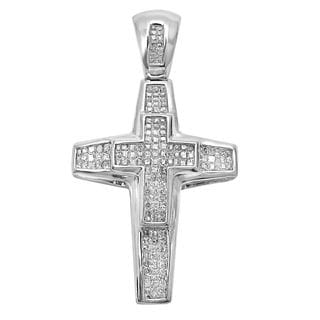 Noori 14k Gold 1 1/5ct TDW Princess-cut Diamond Cross Charm Pendant (I-J, I2-I3)