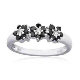 10K White Gold 1/2CT TDW Black and White Diamond Floral Fashion Ring (Black, H-I, I3)