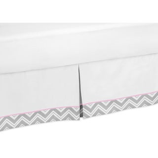 Sweet Jojo Designs Grey and Pink Zigzag Queen-size Bedskirt