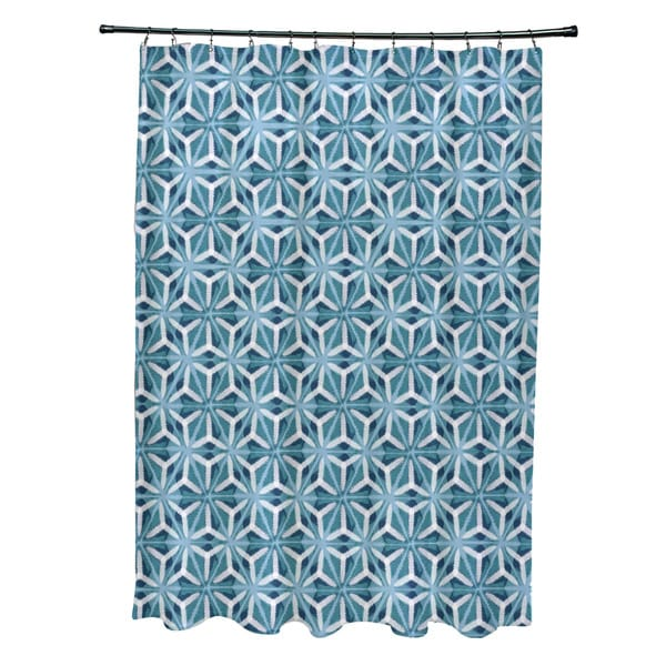 Water Mosaic Geometric Print Shower Curtain