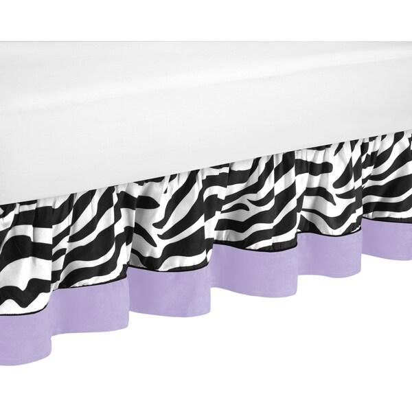 Sweet Jojo Designs Purple Funky Zebra Queen-size Bedskirt