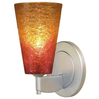 Bruck Lighting Bling 2 Matte Chrome Low-voltage Sunrise Textured Glass Shade Wall Sconce