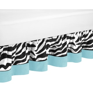 Sweet Jojo Designs Turquoise Funky Zebra Queen-size Bedskirt