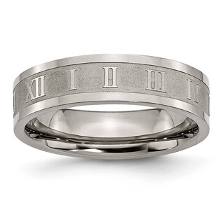 Titanium Roman Numerals 6mm Satin and Polished Flat Band