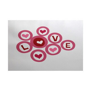 Love in the Round Holiday Geometric Print Indoor, Outdoor Rug (5' x 7')
