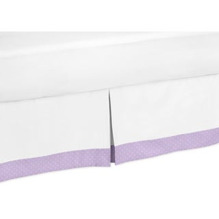 Sweet Jojo Designs Lavender and White Suzanna Queen-size Bedskirt