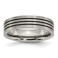 Titanium Enameled Flat 6mm Satin and Polished Band