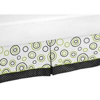 Sweet Jojo Designs Lime Green and Black Spirodot Queen-size Bedskirt