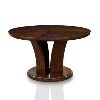 Furniture of America Crezena Flared Pedestal Dark Oak 54-inch Round Dining Table