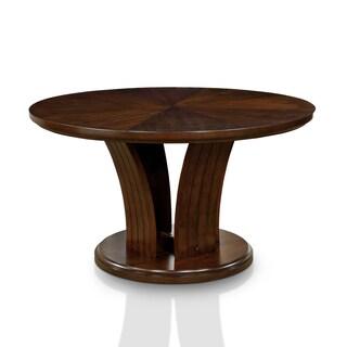 Furniture of America Crezena Flared Pedestal Dark Oak 54-inch Round Dining Table