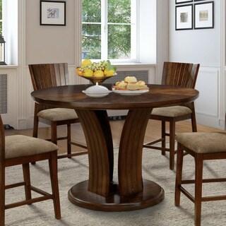 Furniture of America Crezena Flared Pedestal Dark Oak Round Counter Height Dining Table